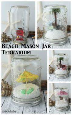 Mason Jars Beach Mason Jar Terrariums -- the perfect way to decorate for summer! Add any miniatures you love!Beach Mason Jar Terrariums -- the perfect way to decorate for summer! Add any miniatures you love! Beach Themed Crafts, Beach Crafts, Summer Crafts, Fun Crafts, Wood Crafts, Mason Jar Projects, Mason Jar Crafts, Mason Jar Diy, Fun Projects For Kids