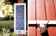 Handmade signs for a Portland Oregon farm wedding