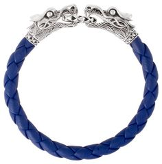John Hardy men's blue leather Naga bracelet.