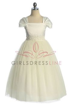 Ivory Dainty Short Sleeve Tulle Bottom Communion Dress K222I $48.95 on www.GirlsDressLine.Com