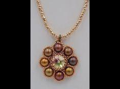 Lollipop Pendant (with rivoli, 2-hole cabochons, 11°, 15° seed beads) - YouTube