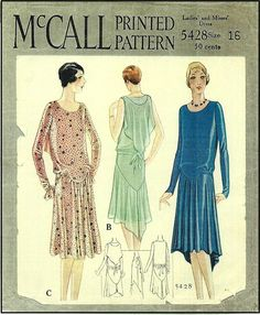 1920s Ladies Frock with Shoulder Drape Sewing Pattern - McCall 5428