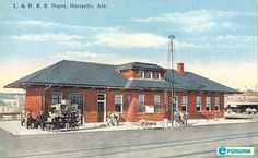 Hartselle postcard post card - L. Railroad Depot, Hartselle, AL