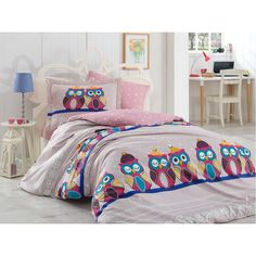 Gold Case - 2017 New Model - Owl series - Poplin Turkish Cotton comforter cover set - Twin size / Made in Turkey - Unique Item, Lilac