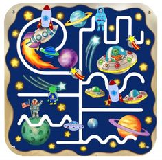 Travel out of this world with the Outer Space Pathfinder Wall Panel!  Children can explore the galaxy, space shuttles, shooting stars, planets, and outer space aliens as they guide the pieces along the paths.  Moving the pieces forward, backward, and around the panel challenges and promotes basic skills of logical thinking, eye-hand co-ordination, and visual tracking.