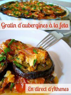 Les aubergines on aime beaucoup, alors forcément, quand on sort au restaurant, on goûte tous les plats qui en proposent et ce gratin nous a bien régalés, du plus petit au plus grand ! J'ai donc fait mes tentatives à la maison et je le partage avec vous... Veggie Recipes, Paleo Recipes, Cooking Recipes, Feta, Eggplant Recipes, Main Dishes, Food And Drink, Veggies, Vegetarian