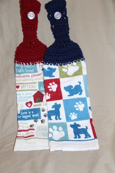 Set of 2 CROCHET TOP KITCHEN hand Towel Light terry cloth playful dogs, dog prints and dog theme by pmscrafts on Etsy
