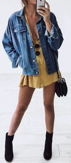 denim jacket + sundress + black details