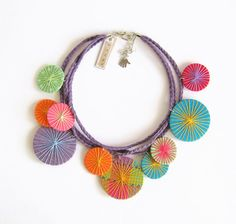 Fabric Necklace Colorful Necklace Statement Jewelry di LENNYshop