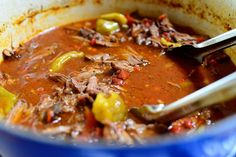 Hot and Spicy Italian Drip Beef.  Made this last night and served it with flour tortillas.  Didn't use the hot cherry peppers.  Cooked all day in the crock pot.  It was really good.