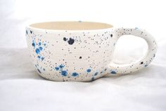 wheel thrown Spotted bLu and White Peacock Mug by muddypotts, $18.00