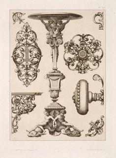 Designs for keyholes, doorknobs, pedestal.