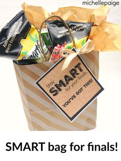michelle paige: College Finals 'Smart' Gift Bag.  Care package filled with smart-labeled foods!