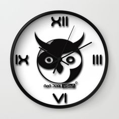 """Available in natural wood, black or white frames, our 10"""" diameter unique Wall Clocks feature a high-impact plexiglass crystal face and a backside hook for easy hanging. Choose black or white hands to match your wall clock frame and art design choice. Clock sits 1.75"""" deep and requires 1 AA battery (not included).  non dual vision logo Owl clock yin yang non duality advaita vedanta"""