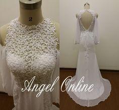 Lace Wedding Dress.Off Shoulder Wedding Dress.Long Sleeves Wedding Dress.Backless Wedding Dress.Sexy Wedding Dress.Beach Wedding Dress 2015 by Angelonlinedress on Etsy