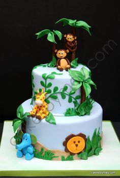 jungle theme baby boy shower cakes - Google Search