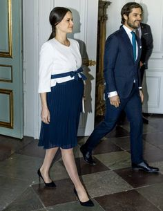 Prince Carl Philip and Princess Sofia attended the meeting of UN ambassadors at the Royal Palace on March 10, 2016.
