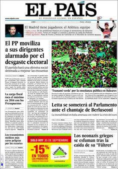 Los Titulares y Portadas de Noticias Destacadas Españolas del 30 de Septiembre de 2013 del Diario El País ¿Que le pareció esta Portada de este Diario Español?