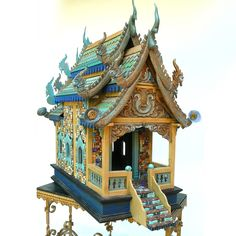 Chinese/Indonesian Mosaic Wooden House with dragon details and hand-painted terra cotta mosiac