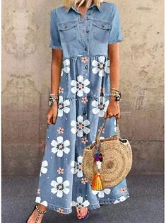 Women's A Line Dresses, Cheap Maxi Dresses, Half Sleeve Dresses, Shift Dresses, Print Maxi Dresses, Blue Floral Maxi Dress, Denim Dresses, Women's Dresses, Robe T-shirt Large
