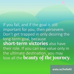 http://arata.se/hello02 If you fail and if the goal is still important for you then persevere. Dont get trapped in only desiring the long-term goal because short-term victories also have their role. If you can see value only in the ultimate destination you may lose all the beauty of the journey. #SeiitiArata #ArataAcademyENGLISH #ArataAcademy #video http://arata.se/yteng #instagood #follow #followme #photooftheday #picoftheday #vid #youtube #youtuber #channel #instadaily #igers #primeshots…