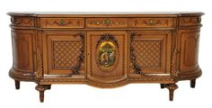 Elaborate Mid-20th Century Louis XV Walnut sideboard with a painted Cartouche