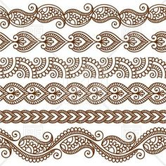 Vector set with abstract floral elements in indian style Ornamental seamless borders. Vector set with abstract floral elements in indian style Mehndi Designs, Mehndi Patterns, Henna Tattoo Designs, Indian Patterns, Henna Tattoos, Doodle Patterns, Zentangle Patterns, Zentangles, Easy Henna Patterns