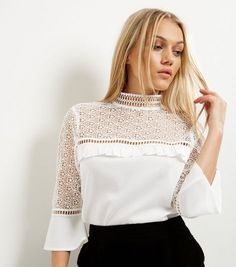 11ead8ebed031 Petite Lace Panel Frill Trim Funnel Neck Top