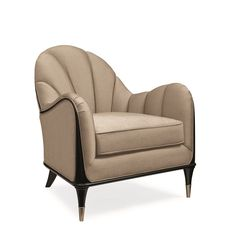 A sophisticated choice in both substance and style, this shapely chair encourages lingering conversations. Elegant wood trim outlines its mo Art Deco Furniture, Furniture Styles, Furniture Design, Modern Sofa, Modern Chairs, Country Sofas, Love Chair, Antique Chairs, Antique Brass