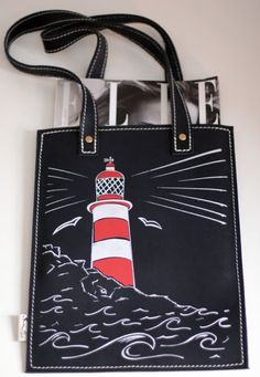Lighthouse tote bag in navy leather