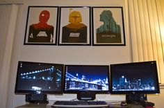 Three monitors, three posters. What else can we say.... 'dem posters.