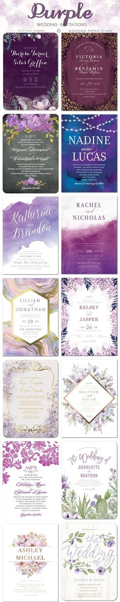 Purple wedding color ideas - Purple wedding invitations / http://www.deerpearlflowers.com/wedding-paper-divas-wedding-invitations/2/ #weddinginvitation