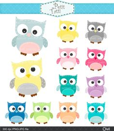 Digital clip art for all use,Owls, owl clip art , pink, blue , yellow and grey ,  INSTANT DOWNLOAD via Etsy