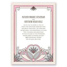 Deco Garden - Pink Blossom - Wedding Invitation, Lotus, Roaring 20s at Invitations By David's Bridal