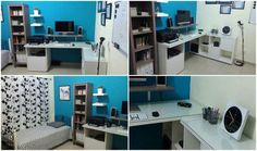 I wanted a desk where I could work both sitting and standing. And made this KALLAX/LINNMON desk hack. Ikea L Shaped Desk, Ikea Kallax Desk, Ikea Corner Desk, Desk Hacks, Bookshelf Desk, Ikea Hackers, Space Interiors, Room Interior Design, New Homes