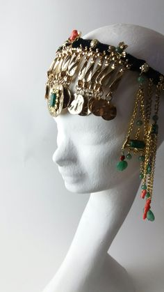Goldplated Jade Corals Ethnic  Morocco Odalisk Bedouin style inspiration  Headpiece by Marco Apollonio