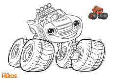Coloriages Blaze : coloriez Blaze en train de sortir des grandes roues