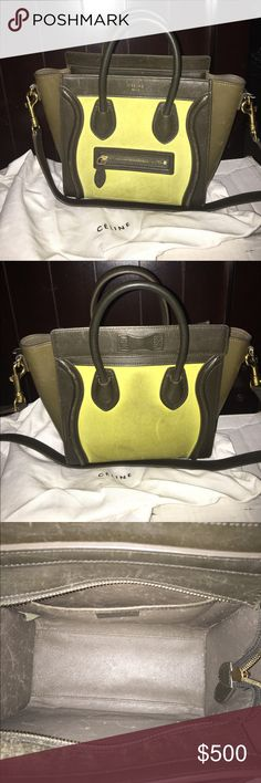 Mini Celine luggage olive & lime 100% authentic USED! Celine Charteuse Green Nubuck Suede Mini Luggage tote. 100% Authentic With Strap And Dustbag Celine Bags Mini Bags