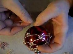 how to make a beaded cover for a christmasornament. easy project