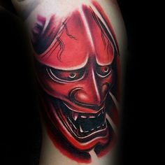3d Mens Red Ink Hannya Mask Bicep Tattoos