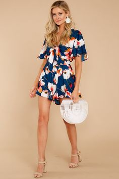 a342e48a1e31 Sexy Navy Floral Print Romper - Flowy Tie Front Romper - Onesie -  49 – Red