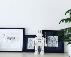 Blush interior styling II Art house made by my childeren II Black and white II Robots
