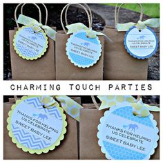 Set of 12 personalized aqua yellow and by CharmingTouchParties, $20.00