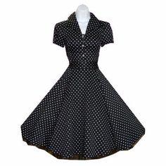 H & R BLACK Polka dot Swing 50's Housewife pinup Dress Vintage Rockabilly 6839