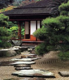 Raked gravel, large flat stones in traditional Japanese Architecture