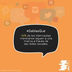 60% de los internautas mexicanos siguen a una marca a través de las redes sociales. #piso9digital #sabíasque