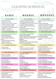 Clean House Schedule, House Cleaning Checklist, Household Cleaning Tips, Diy Cleaning Products, Cleaning Hacks, Monthly Cleaning Schedule, New House Checklist, Household Binder, Spring Cleaning Schedules