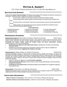 financial analyst resume sample financial analyst sample resume career