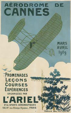 Sale 2326 Lot 71, Swann Galleries RENÉ HERMANN-PAUL (1864-1940) AÉRODROME DE CANNES. 1909. Estimate $10,000 - 15,000
