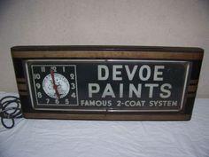 "Vintage Art Deco 1930's Devoe Paints 29"" Neon Lighted Clock Sign W/Indian~Works"